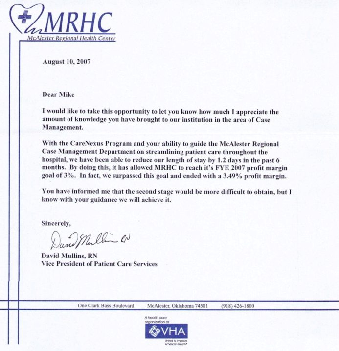 Testimonials hospital case management llc client letter thecheapjerseys Image collections