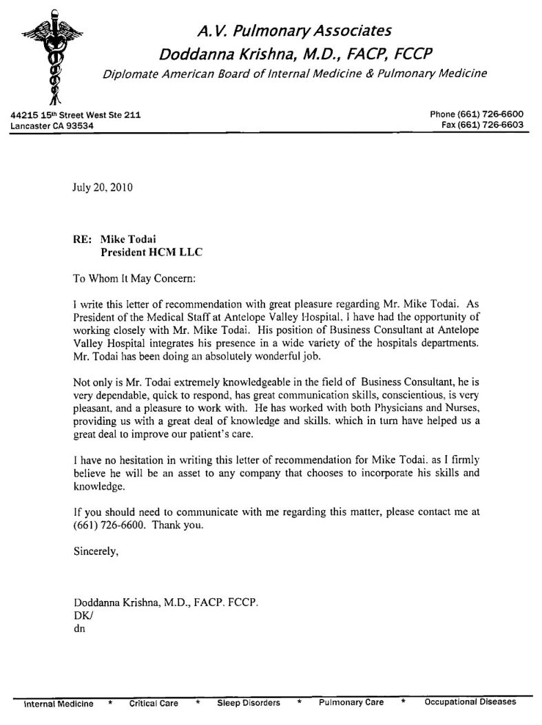 letter of recommendation for nurses